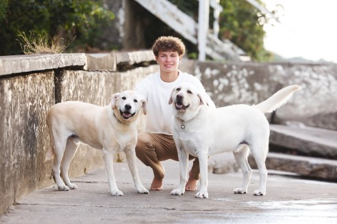 st. edward senior photography with dogs