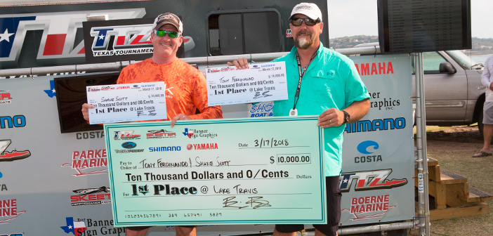 TONY FERDINANDO AND SHANE LOGAN TOP 195 TEAMS ON TRAVIS WITH 27.32 POUNDS AND TAKE HOME $10,000