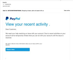Another Phishing Scheme, Not Really PayPal