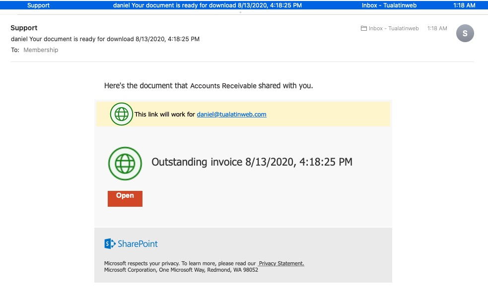 Phishing email with SharePoint