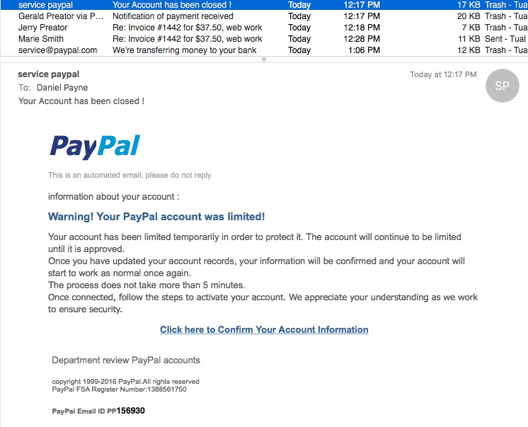 paypal when in fact they are scammers sending out official looking emails that look a lot like a real paypal message heres an email that i received