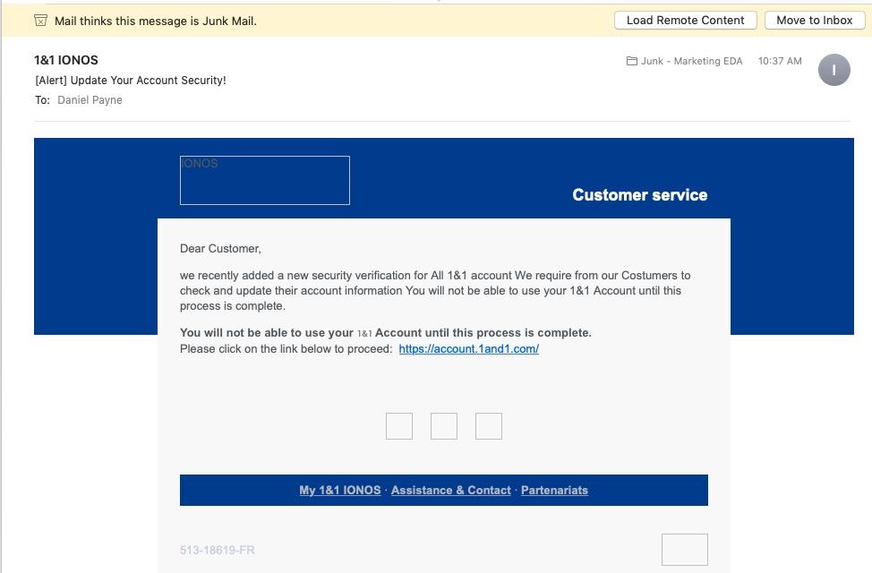 1&1 IONOS, Phishing Scam