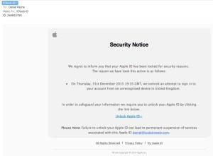Happy New 2016, Beware of an Apple ID Phishing