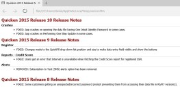 Quicken release notes