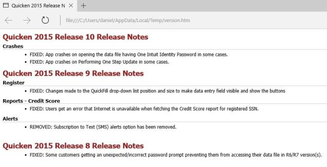 Quicken release notes