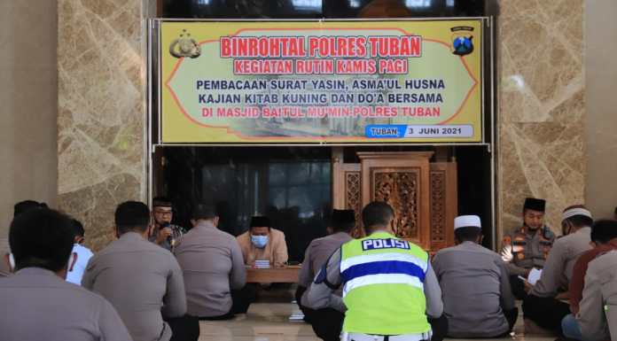Polres Tuban Gelar Binrohtal Rutin Sebagai Sarana Keseimbangan Rohani Personel