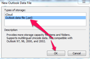 Select Outlook data file and click OK