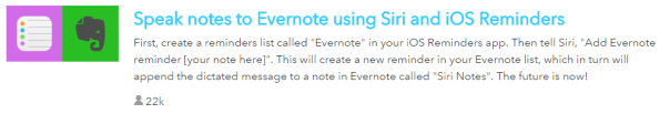 IFTTT Recipe with Siri and Evernote