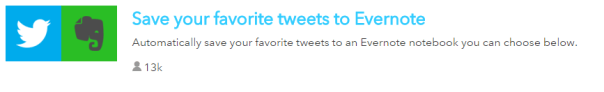 IFTTT Recipe with Twitter and Evernote