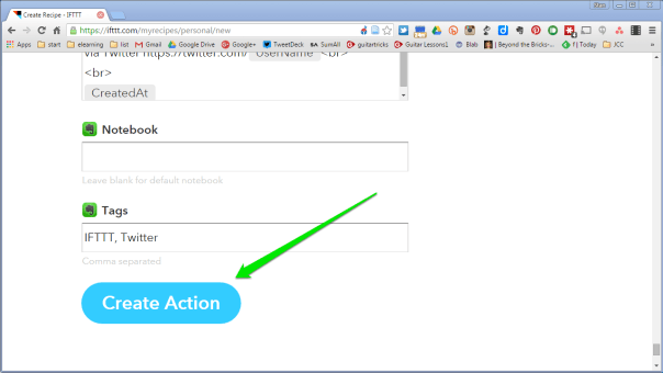 Update ingredients and click on Create Action button.