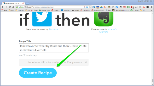 Click on Create Recipe button