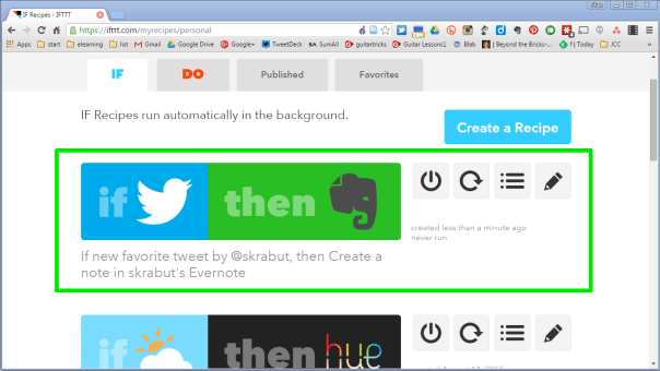 Completed IFTTT recipe.