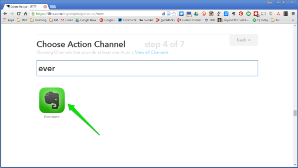 Search for your action channel and select it.