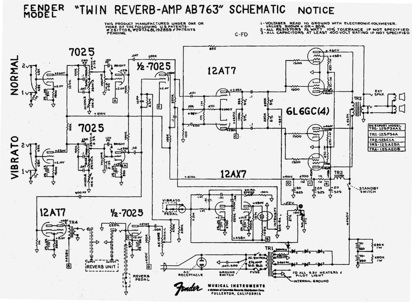 Super Twin Reverb Schematic