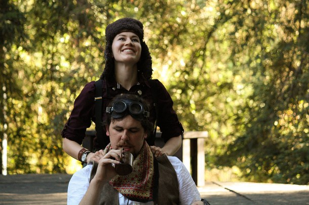 Hannah Sharafian as Moth and Rob Williamson as Don Adriano De Armado in Love's Labour's Lost.