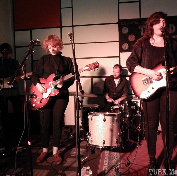 A, mostly, full band shot. From left to right, Ben Rubenstein, Rosa Slade, Olly Joyce, and Katy Young.