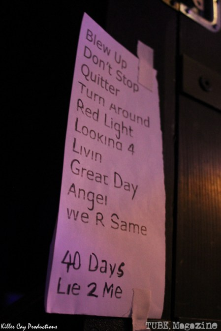 Set List back stage for Jonny Lang and his band at the Crest Theatre, January 21, 2014. Photo Vanessa Salazar.