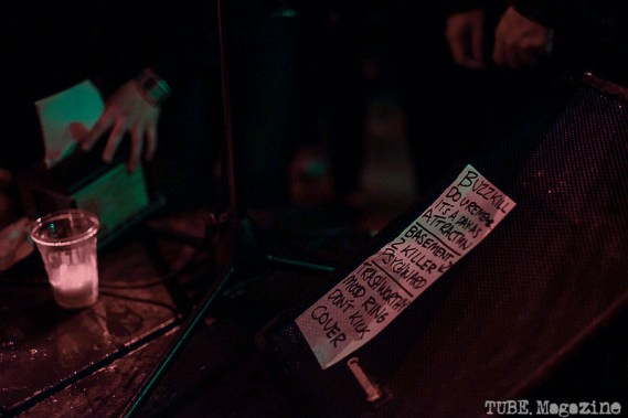 Set List on stage at Luigis Fungarden Sacramento, CA. Photo Heather Uroff