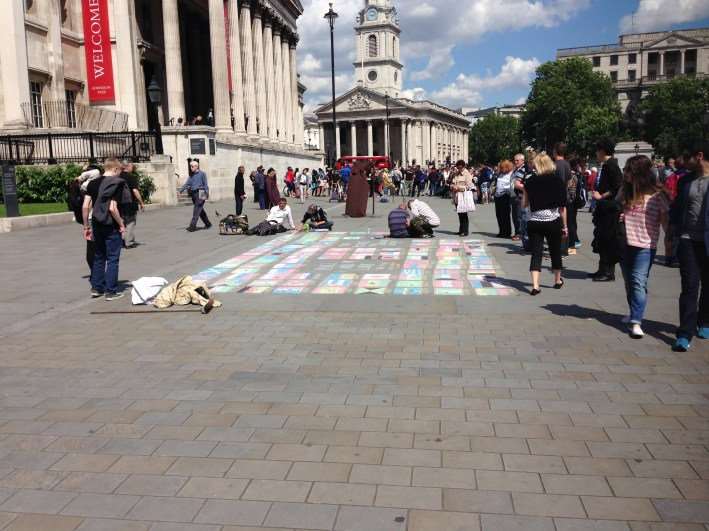 National Gallery is in Trafalgar Square, which is full of busking of all sorts.