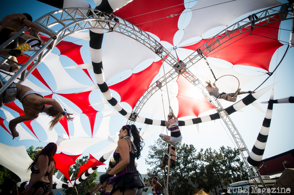 The Vau de Vire Society performing aerial acts at the 2014 Lagunitas Beer Circus in Petaluma CA.