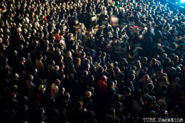 Slayer audience at the Fox Theater in Oakland CA creating a mosh pit in front of the stage. 2014 Photo Melissa Uroff 2014