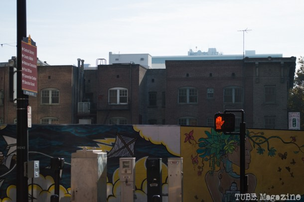 Temporary murals surround a vacant lot on K Street. Photo M.Hershenow. 2014.