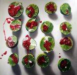 Polished Key Limes oil on linen 4' x 4' Denise Stewart-Sanabria