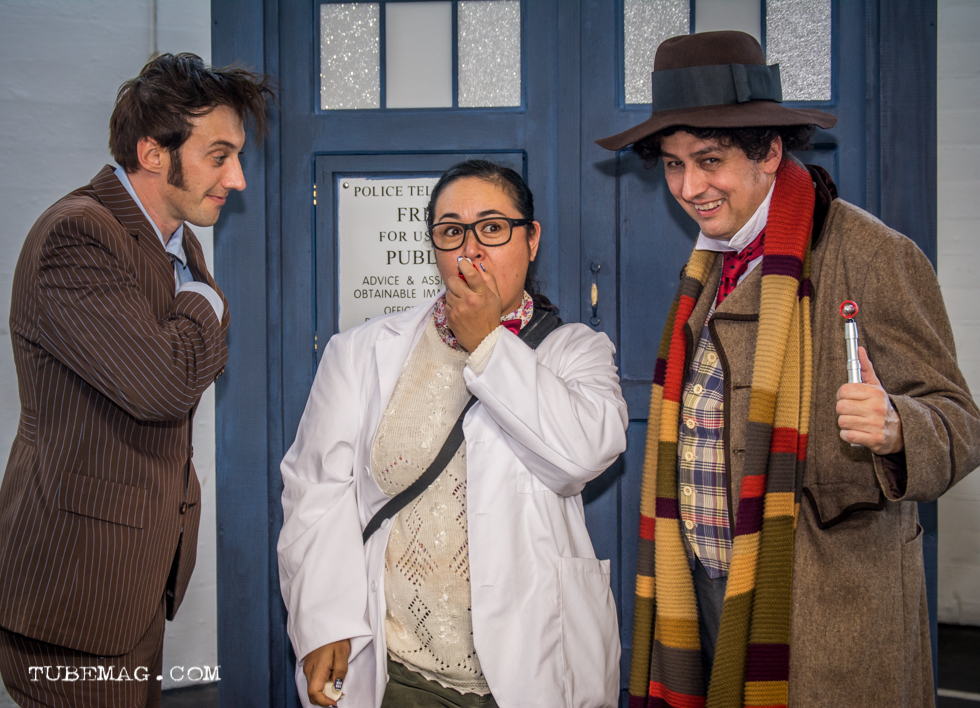 "Doctor Who Cosplay with two doctors and character ""Osgood"" from the 50th anniversary special"