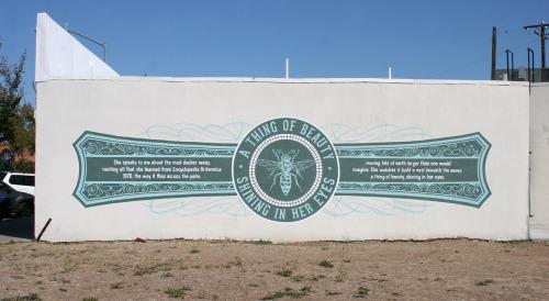 Matranga's Words on Walls mural design in Del Paso Heights  (photo courtesy Asbestos Press).