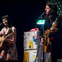 Jessica Lea Mayfield and Seth Avett on stage at Palace of Fine Arts, San Francisco CA, 2015. Photo Melissa Uroff.
