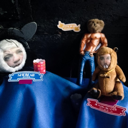 Artwork by Jenn Bear hanging at the TUBE. Circus at the Blue Lamp in Sacramento CA.