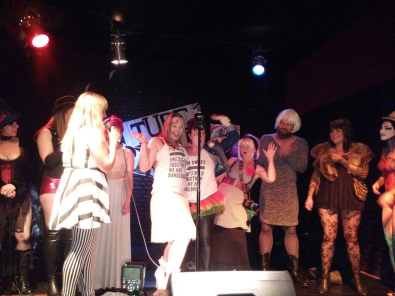 Costume contestants on stage at the Blue Lamp for the TUBE. Circus located in Sacramento CA. May 15, 2015. Photo Naomi Lucchesi