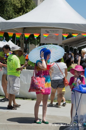 Rainbow and parasols and wigs! Oh my! at Sac Pride 2015, Photo Sarah Elliott