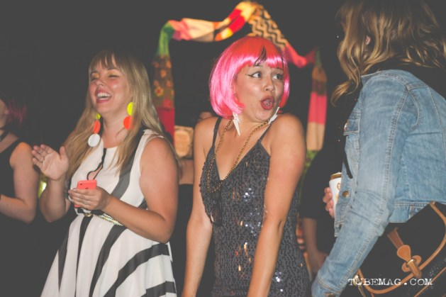 Melissa Uroff, Kate Gonzales and Jenn Ponci having a blast at the TUBE. Circus at the Blue Lamp. Sacramento CA. May 15, 2015. Photo Sarah Elliott.