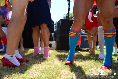 Contestants for best legs competition at Walk A Mile In Her Shoes hosted by WEAVE, inc. Sacramento, Ca. Photo Alejandro Montaño.