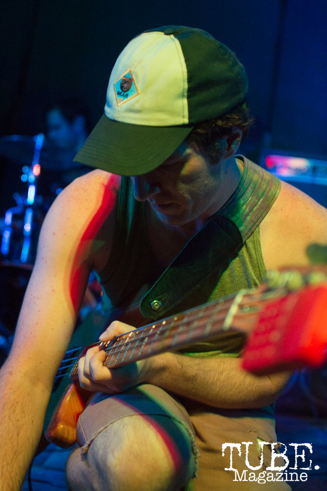 Bass player Drew Walker of Gentleman Surfer at Cafe Colonial in Sacramento, CA. August 2015. Photo Alejandro Montaño