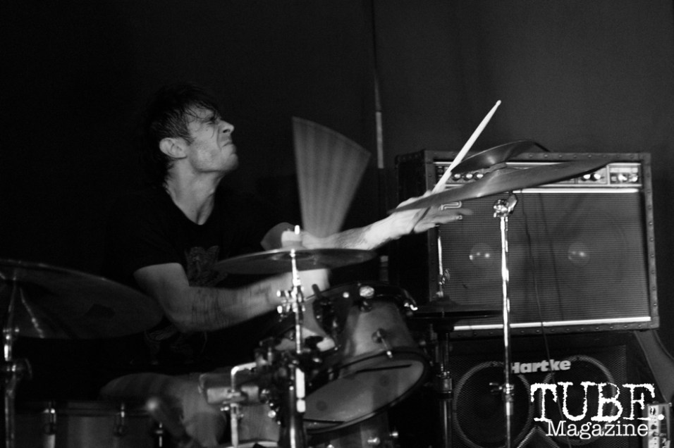 Drummer and vocalist Jon Bafus of Gentleman Surfer playing at Cafe Colonial in Sacramento, CA. August 2015. Photo Alejandro Montaño