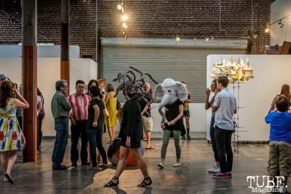 Performers moving through the gallery, Beatnik Studios, Sacramento CA. Photo Sarah Elliott. 2015
