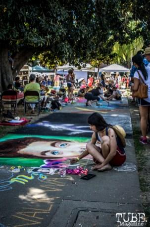 Artists and crowds walking, Chalk It Up, Sacramento 2015, Photo Sarah Elliott