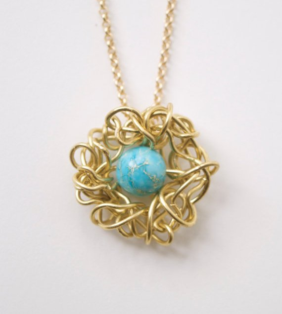 Robin's Egg Bird's Nest Necklace by Sarah Perez.