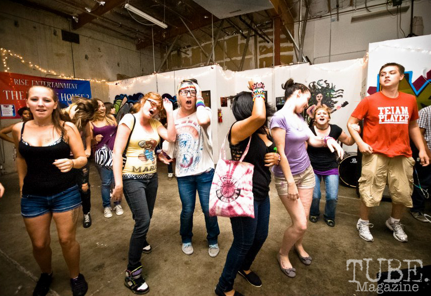Patrons dancing at Marrujo's first venue, The Where House?. Sacramento CA August 2012 Photo Melissa Uroff