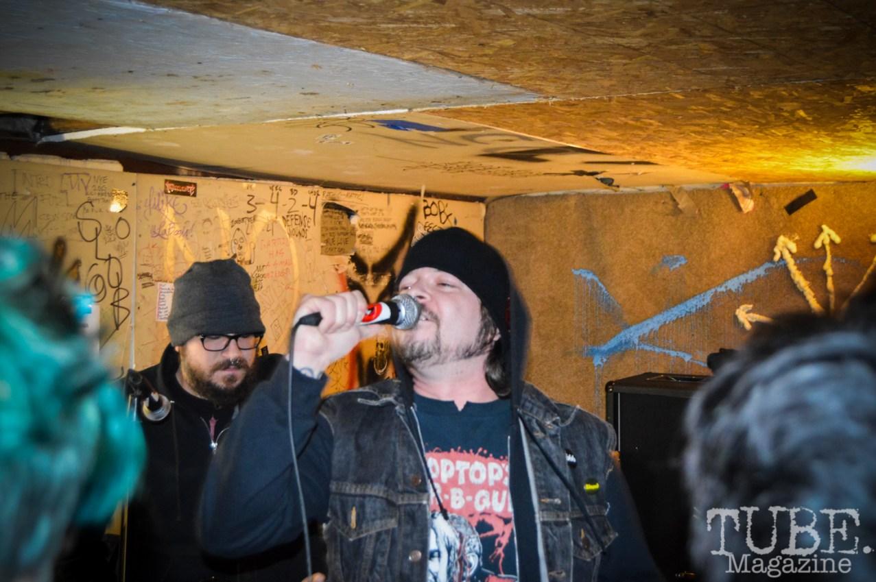 Sacramento punk band, Strange Party, kicks off the Ground Chuck Benefit show held at Casa de Chaos on January 9, 2016. Photo Vi Mayugba.