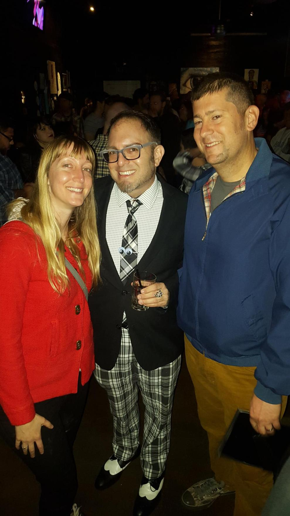Heather Simoni (left), Mig Law and Tony Simoni at the Life On Mars show at the Blue Lamp in Sacramento CA. February 2016. Photo provided my Mig Law.