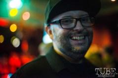 Artist, Mark Fox, at the Life On Mars show at the Blue Lamp in Sacramento CA. February 2016. Photo Melissa Uroff