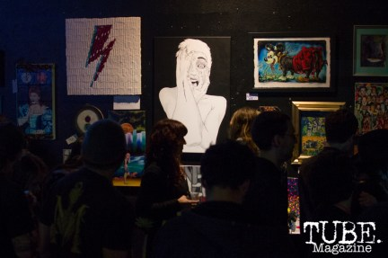 Blue Lamp had a full house of artwork inspired by David Bowie and plenty of people to admire it. Sacramento, CA. February 2016. Photo Alejandro Montaño