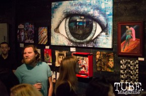 David Bowie was an inspiration for all the artwork that hangs on the walls of the Blue Lamp for the month of February 2016. Sacramento, CA. Photo Alejandro Montaño