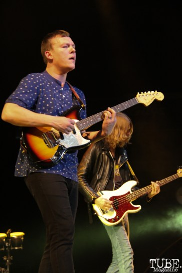 Brad Shultz rhythm guitarist and Daniel Tichenor bassist of Cage the Elephant, Spring Fling at Sleep Train Arena, Sacramento, CA.March 12,2016. Photo Anouk Nexus