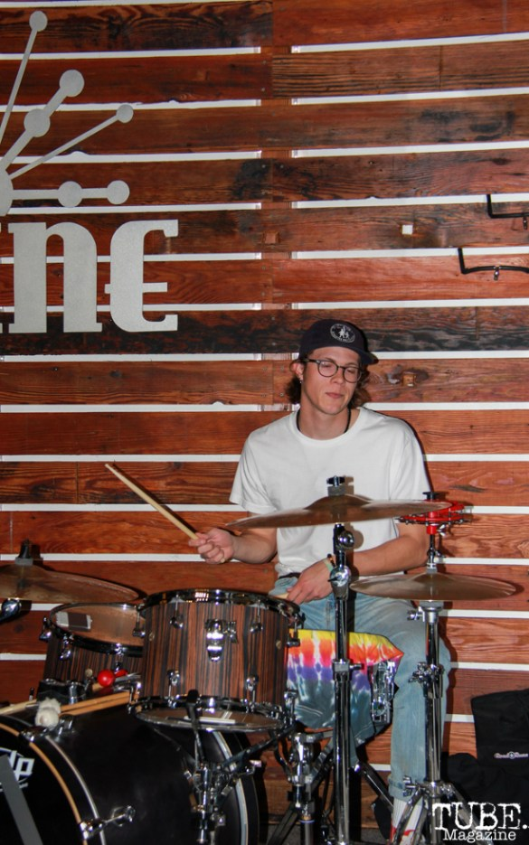 Geoffery Luoma drummer of Animals in the Attic, Shine Cafe, Sacramento, CA.March 11,2016. Photo Anouk Nexus