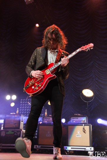 Nick Bockrath lead guitarist of Cage the Elephant, Spring Fling at Sleep Train Arena, Sacramento, CA.March 12,2016. Photo Anouk Nexus