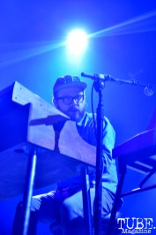 Keyboard player for the Silversun Pickups plays at Spring Fling Rock AF tour in Sacramento, CA, March 12, 2016.